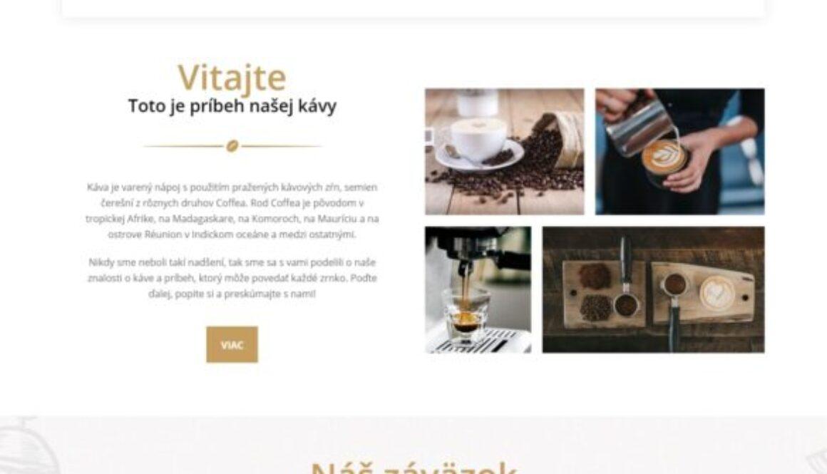 webstránka pre kaviareň