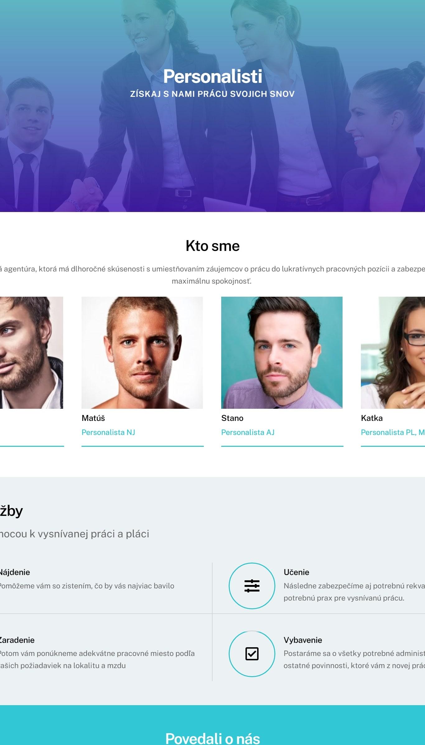 webstránky pre agentúry